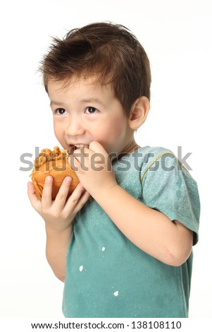 The little boy eating a hamburger/The boy eating a hamburger. Selective focus on a hamburger. Isolated on a white background. - stock photo