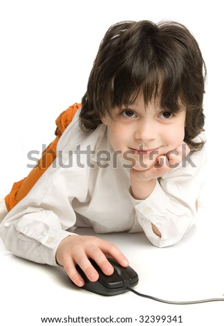 The little boy wish  computer mouse wich looking to monitor - stock photo