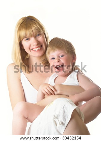 The little boy with mum of the house - stock photo
