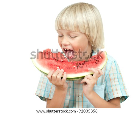 the little children boy  eating watermelon, on white background, isolated
