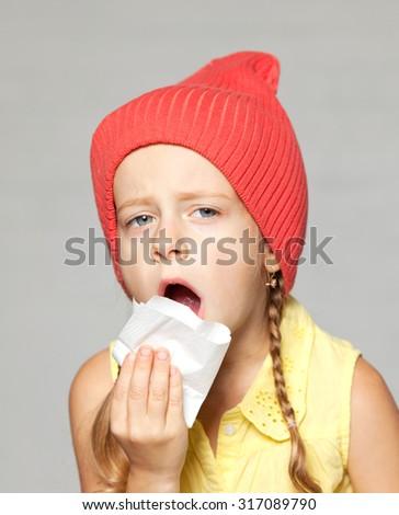 the little girl flu - stock photo