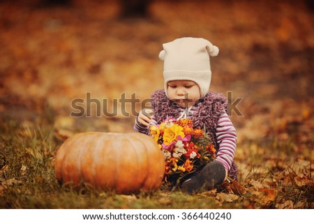 The little girl holds a beautiful color bouquet and watches on big pumpkin in a grove