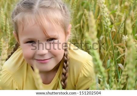 The little girl in a wheaten field - stock photo