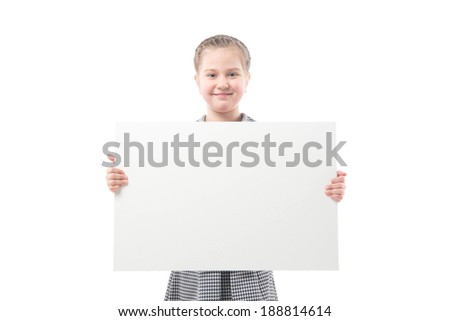 The little girl with a banner on a white background - stock photo