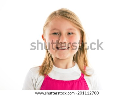 the little girl with missing teeth  - stock photo