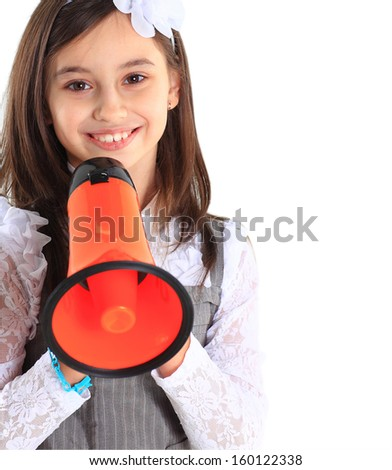 The little girl with the mouthpiece. - stock photo