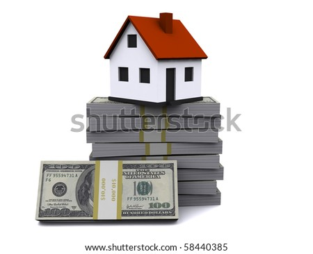 The little house as a successful real estate business on a white background. 3D graphics. - stock photo