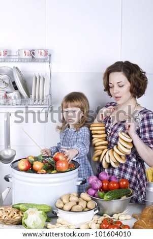 the little lovely girl with mother in kitchen learns to prepare