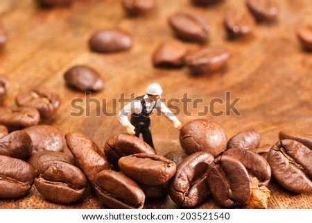 The little man made coffee selection. The concept of cooking. - stock photo