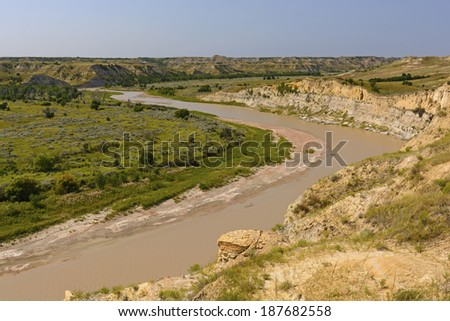 The Little Missouri River in Theodore Roosevelt National Park - stock photo