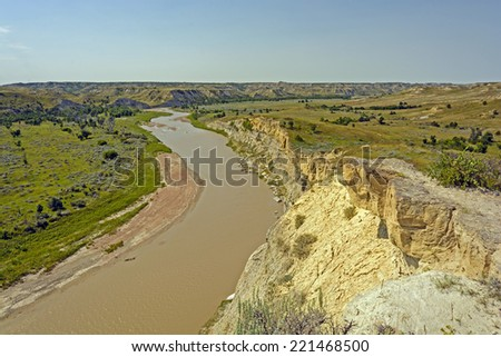The Little Missouri River Theodore Roosevelt National Park - stock photo