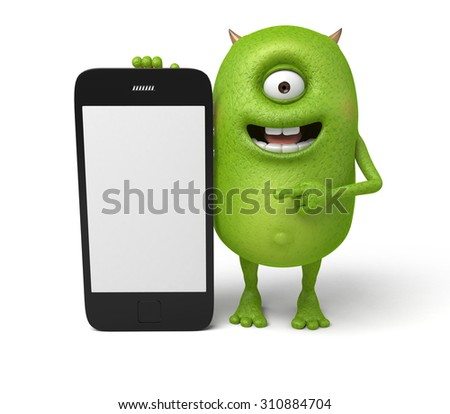 The little monster is showing his cell phone - stock photo