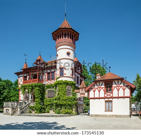 """The little old castle of """"Herrsching"""" near Munich in Bavaria - stock photo"""