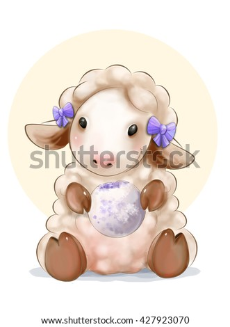 The little pink sheep with cake