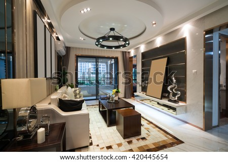 the living room with luxury decoration