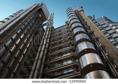 The Lloyd's building, a futuristic steel giant in London - stock photo