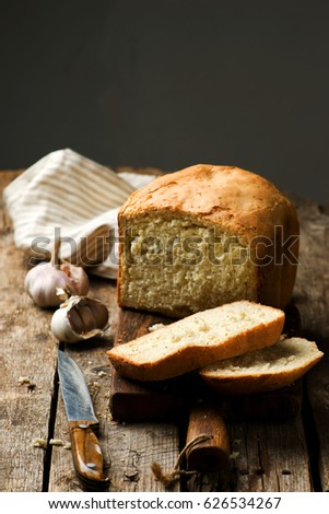 The Loaf Of Garlic Bread Baked In The Bread Machine Style Rustic Selective Focus