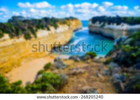 The Loch Ard Gorge Lookout in Great Ocean Road Australia in Blur style - stock photo
