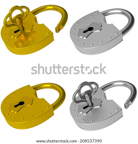 The lock and key - it is opened and it is closed isolated on a white background 3d - stock photo