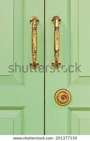 the lock key on the door