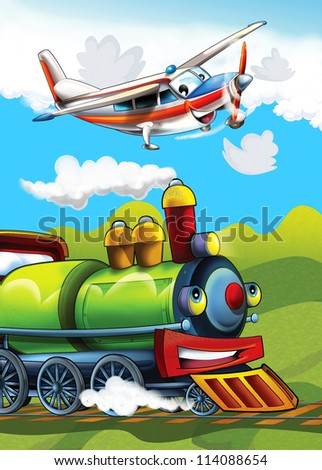 The locomotive and the flying machine - illustration for the children