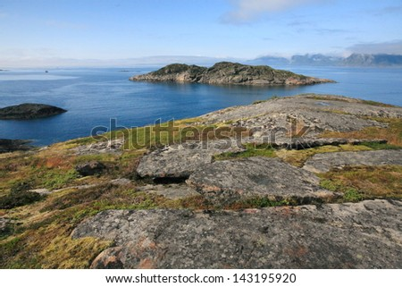 The Lofoten Islands are an archipelago of Norway, which extends to the north-east between the counties of Nordland and Troms unesco heritage fishing for cod - stock photo