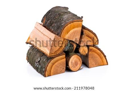 The logs of fire wood The logs of fire wood isolated on white. - stock photo