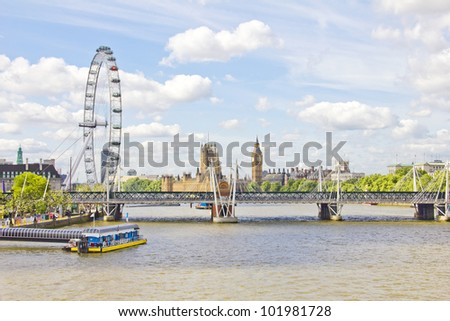 The London Eye, Thames river and the Big Ben - stock photo