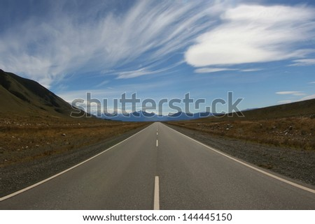 The lonely straight road in the Los Glaciares National Part in Patagonia, Argentina