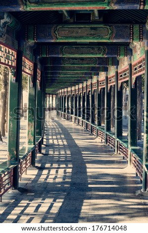 The long corridor in Summer Palace, Beijing