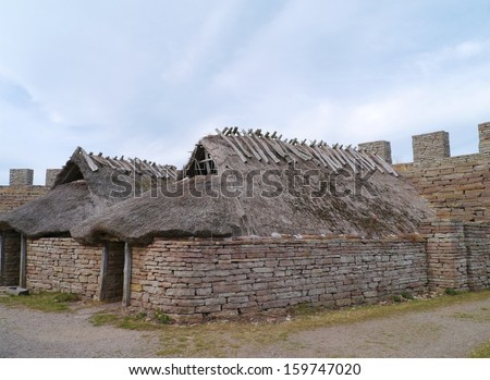 The long houses of the Eketorp medieval castle on the Island Oeland in the Baltic sea of Sweden