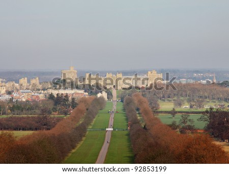 The Long Walk in Windsor Great Park in England with Windsor Castle in the background