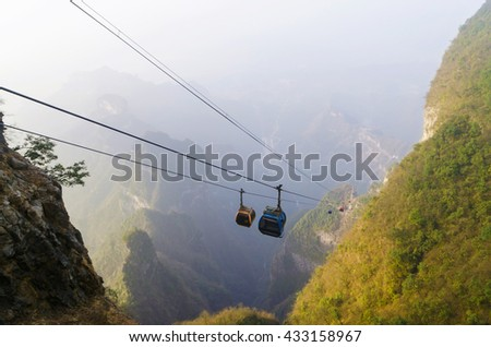 The longest cable car in the world, Tianmen Shan, Zhangjiajie China.