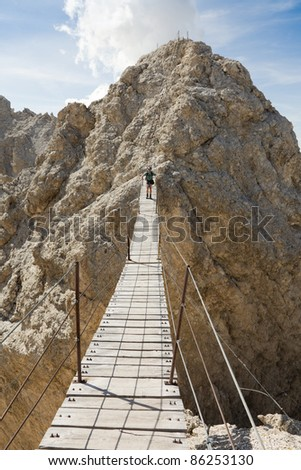 The longest Via Ferrata bridge in the Dolomites on the Cristallo Ridge