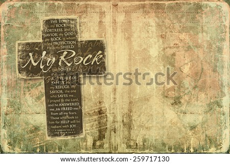 The Lord is My Rock Religious Background with place for your text or image - stock photo