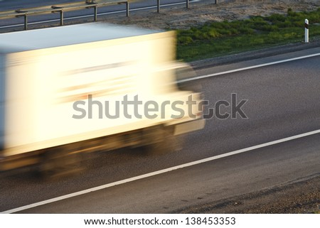 The lorry on the country highway