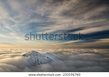 The lost peak in the sky , spectacular mountain picture - stock photo