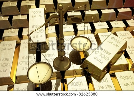 The lot of gold bars