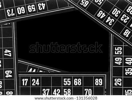 the lotto , the game, bingo cards as frame - stock photo