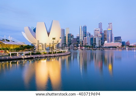 The `Lotus flower` of the ArtScience Museum  and the Central business district of Singapore at the background.