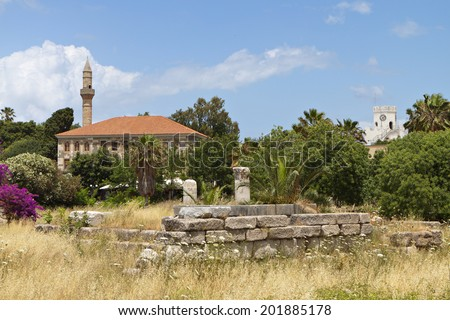 The Lotzia Mosque at Kos island in Greece - stock photo
