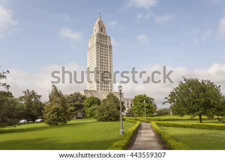 The Louisiana State Capitol tower in the city of Baton Rouge. Louisiana, United States