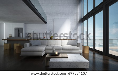 The Lounge And Double Space Living Room And Kitchen Interior Design And  Concrete Wall Background /