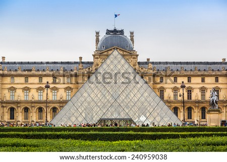 The Louvre is one of the world's largest museums  in Paris - stock photo