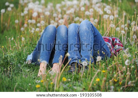 the loving couple lies on a grass and dreams - stock photo