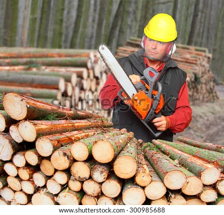 The Lumberjack with chain saw working in a forest.  - stock photo
