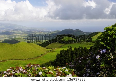 The lush green volcanic hills of Sao Miguel island, Azores, Portugal