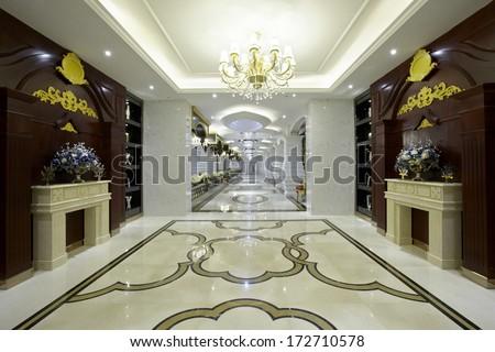 The luxurious clubhouse interiors,Luxury lobby  - stock photo