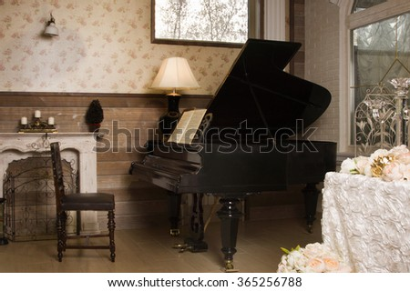 The Luxurious vintage interior with old piano
