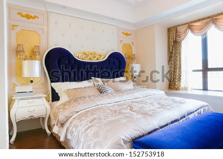 the luxury bedroom with nice decoration - stock photo